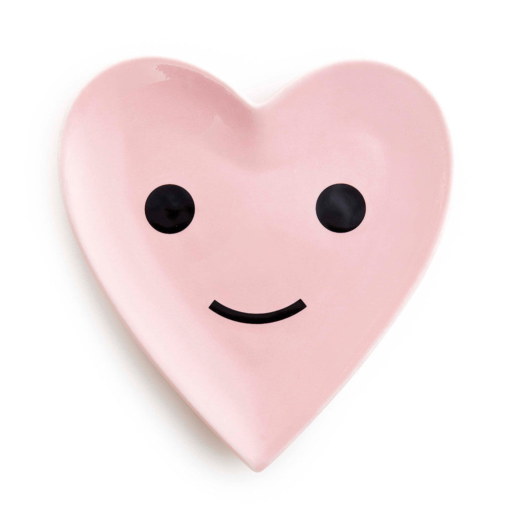 blush pink porcelain dish - herbie the happy heart