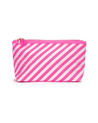 looking good makeup bag - ticket stripe in neon pink