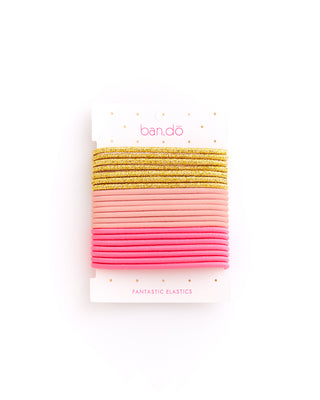 fantastic elastics - metallic gold / blush / neon pink