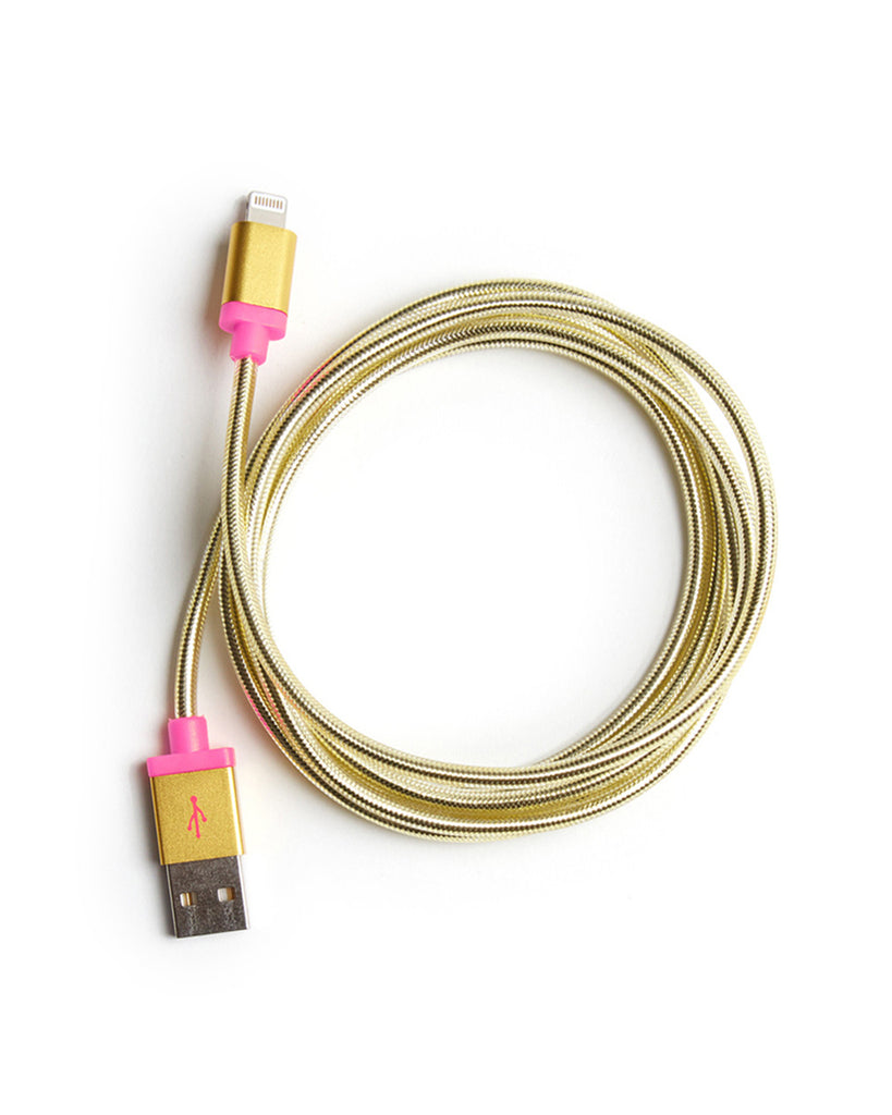 This five foot charging cord is metallic gold colored.