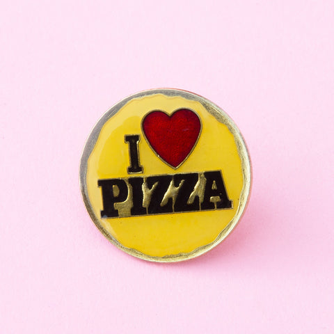 i love pizza yellow and gold vintage enamel lapel pin
