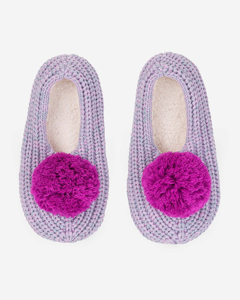 lilac colored knit pom slippers