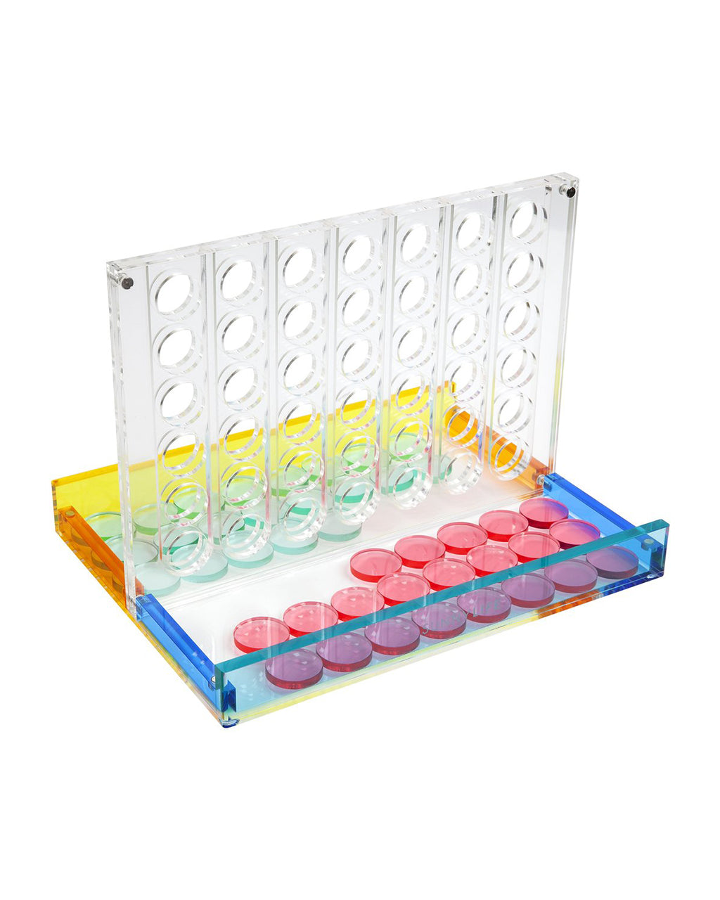 acrylic 4 in a row game with rainbow color design