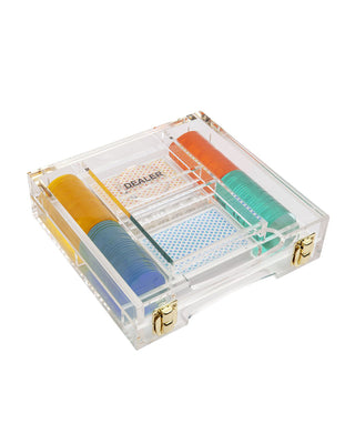 lucite poker game shown in acrylic box