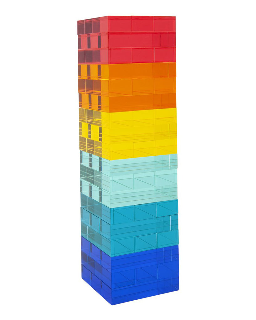 lucite tower with multi color blocks