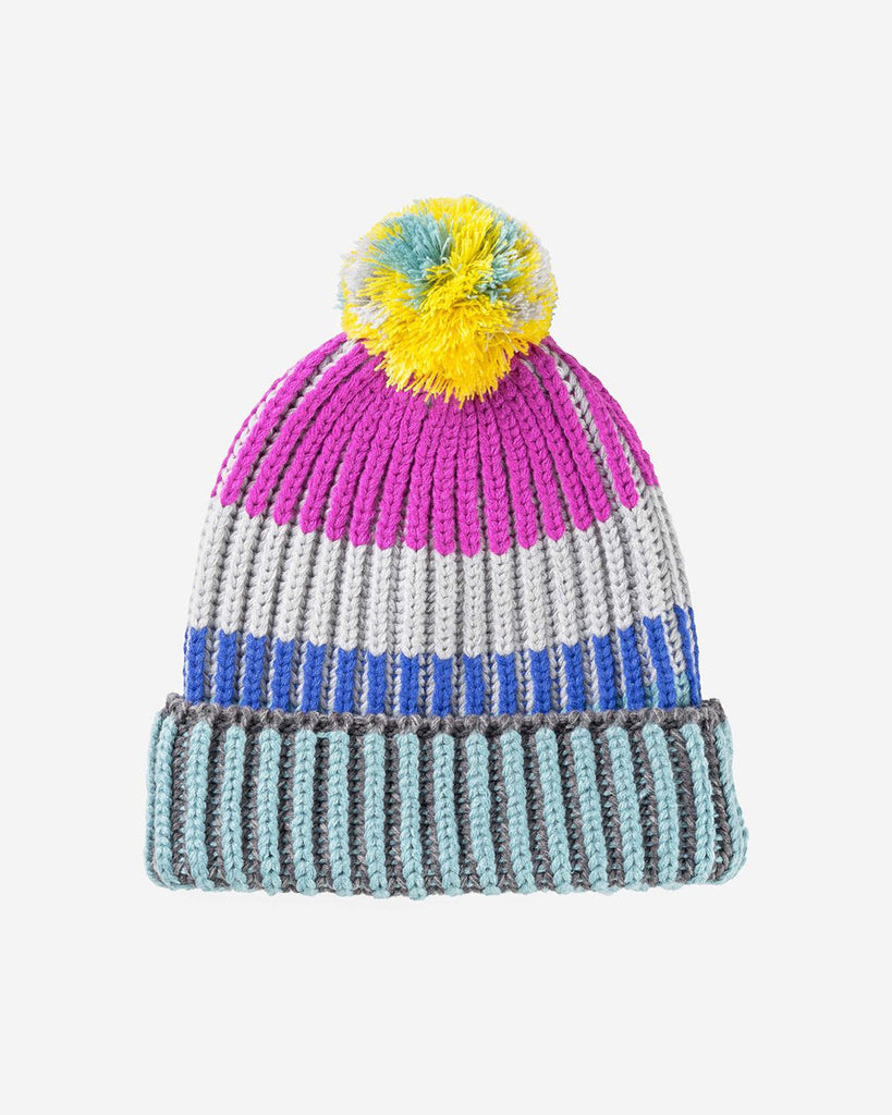 Chunky Rib Stripe Pom Hat - Magenta Yellow