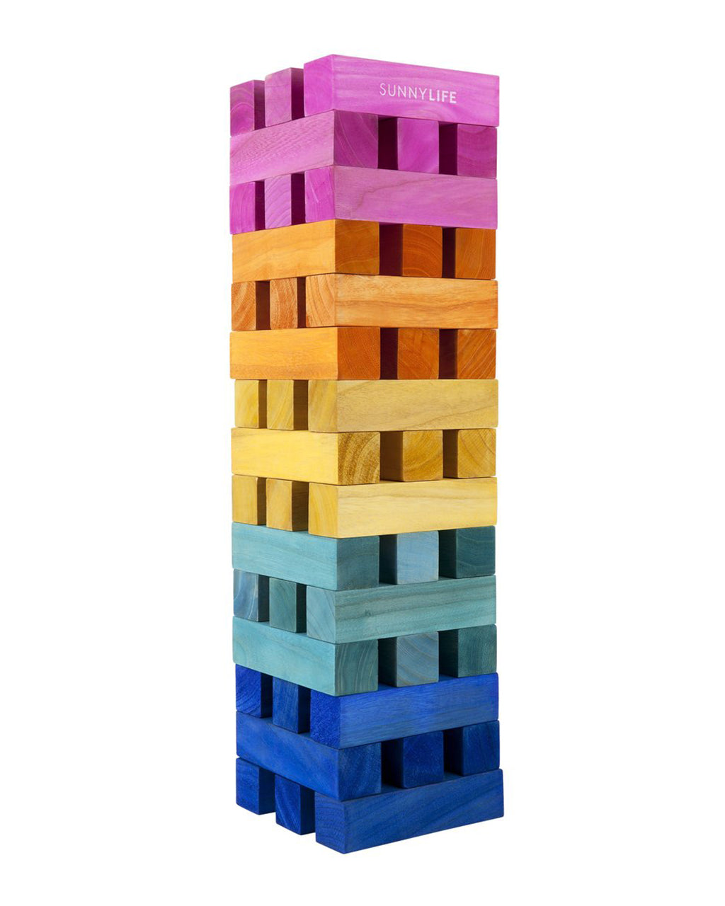 rainbow colored mega jumbling tower blocks