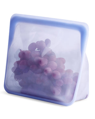mid amethyst stand up stasher bag shown with grapes