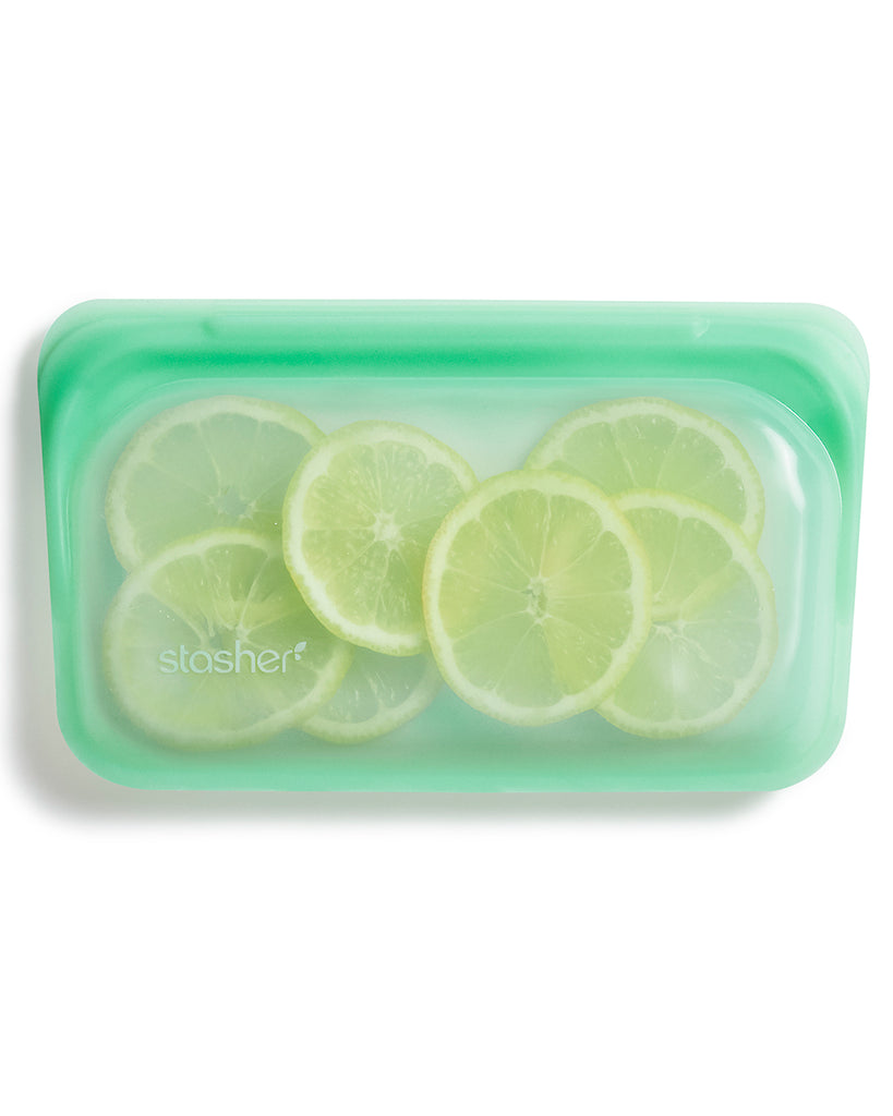mint colored stasher bag with lemons