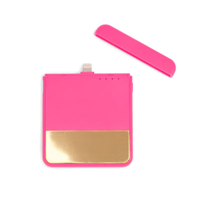 Mobile Charger - Back Me Up! Mobile Charger - Colorblock Neon Pink + Metallic Gold