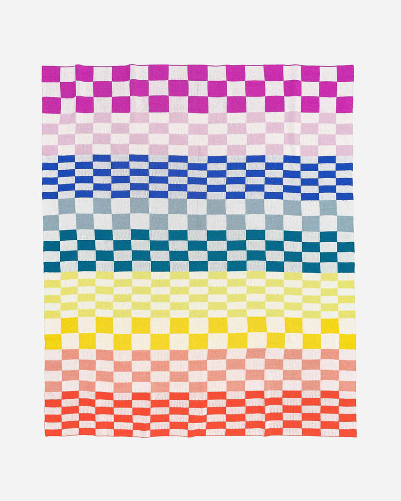 bright colored multi checked throw