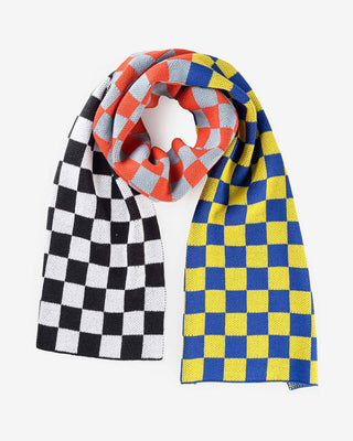 yellow, black, and white checkboard scarf