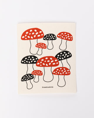 red & black mushroom dishcloth