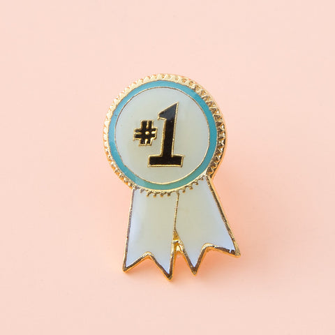 #1 ribbon vintage enamel pin