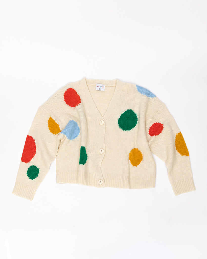 off white button cardigan with multi colored large polka dots
