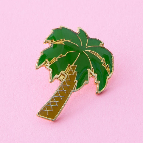 palm tree vintage enamel lapel pin