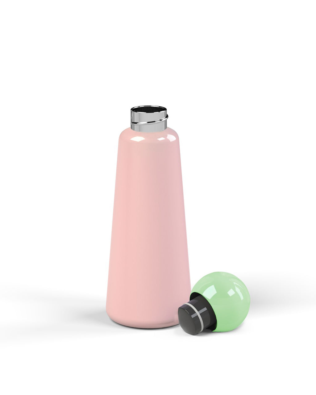 pink water bottle with mint top
