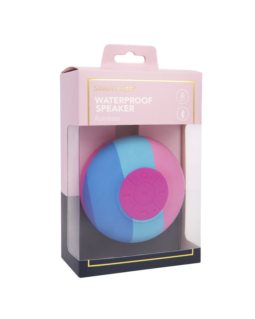 blue and pink rainbow shower speaker shown in packaging