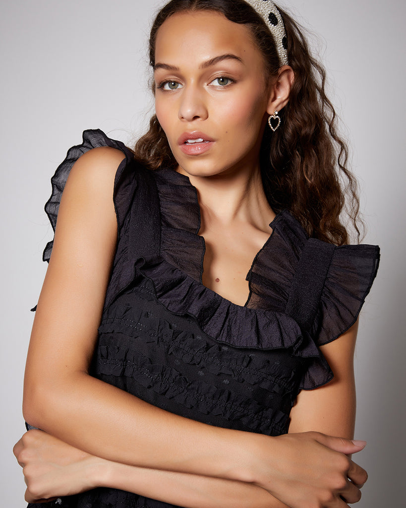 close up of ruffle dress top