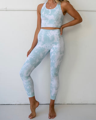seafoam tie dye leggings shown on model