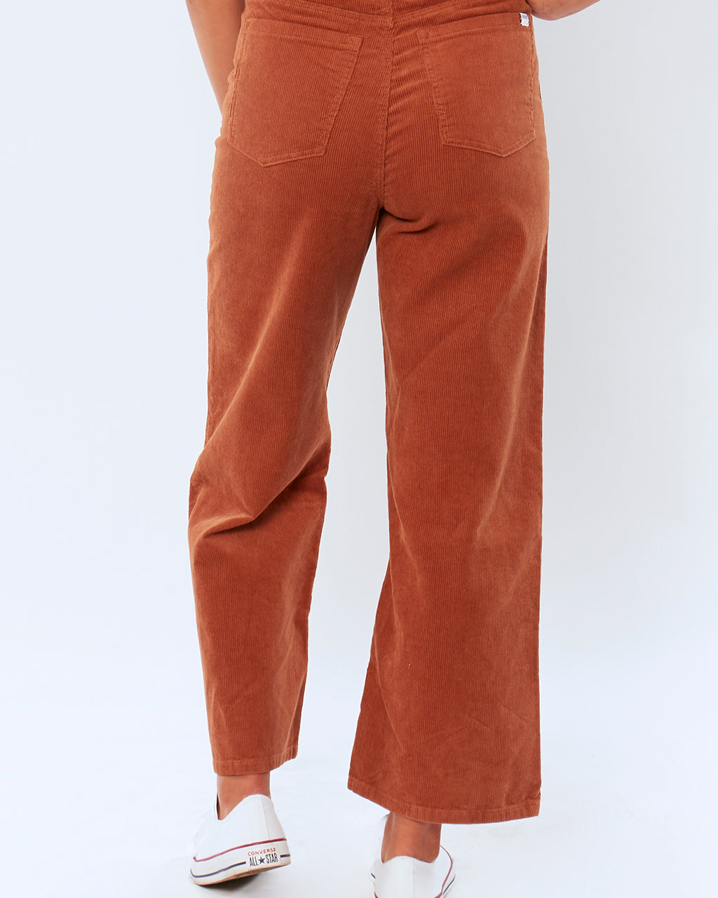 on figure back view of poppy cord woven pants