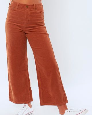 henna poppy cord woven pants shown on figure