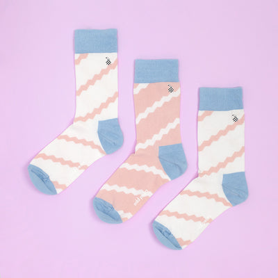 Socks - Ribbon Socks - Peach And Blue