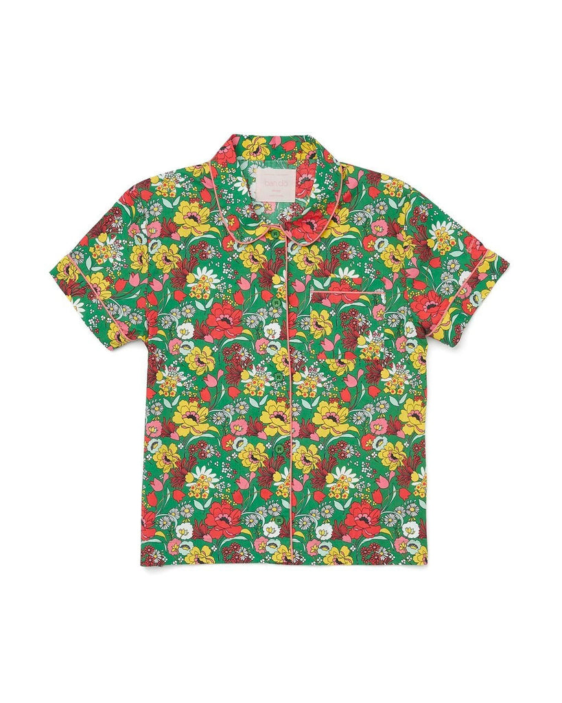 100% cotton poplin leisure shirt with an all over emerald floral pattern