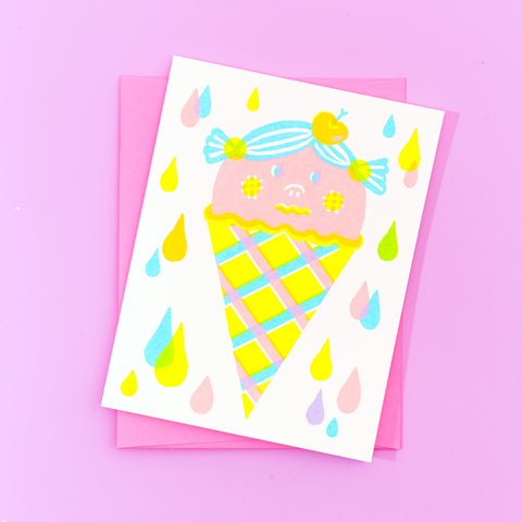 strawberry ice cream cone greeting card with pink envelope