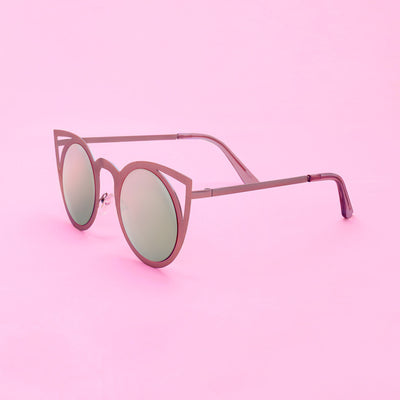 Sunglasses - Metallic Rose Cat Eye Sunglasses