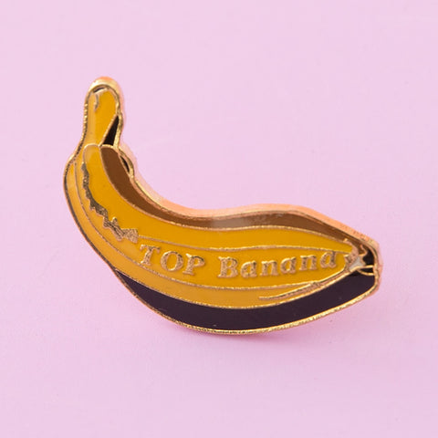 yellow and gold top banana vintage enamel lapel pin