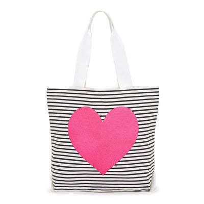 Tote - Canvas Tote - Black/white Stripe With Neon Heart