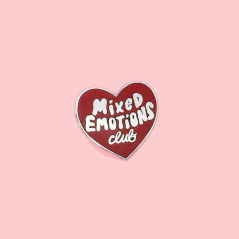 mixed emotions red heart enamel pin by tuesday bassen
