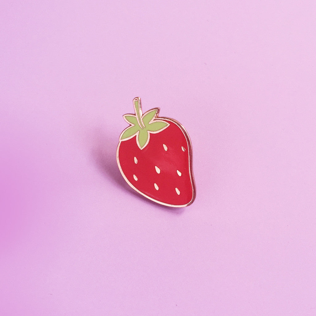 strawberry cloisonne enamel pin