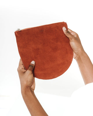 large u pouch - rust suede