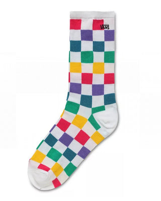 The Ticker Sock comes in white, with a multi-colored checkerboard pattern throughout.