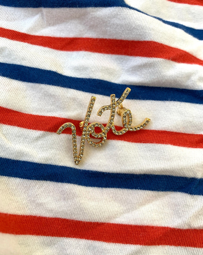 diamond vote pin shown on red white and blue background