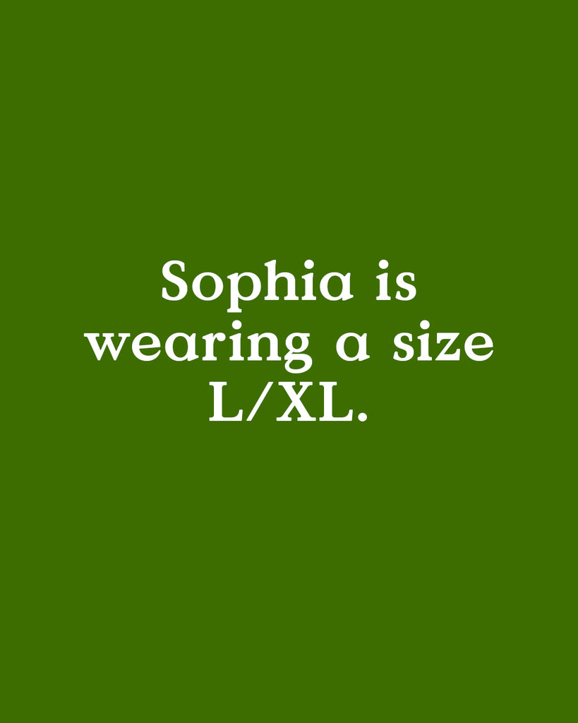 Sophia is wearing a size L/XL