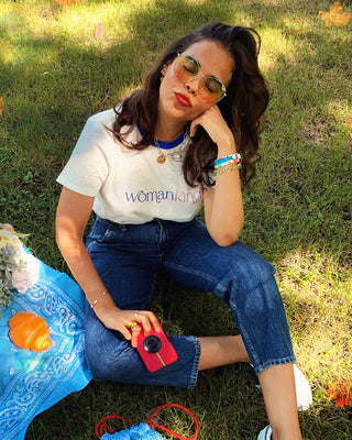 white womankind ringer tee shown on model