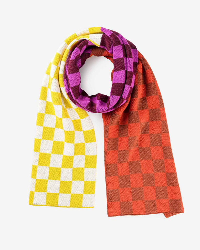 magenta and yellow checkerboard scarf