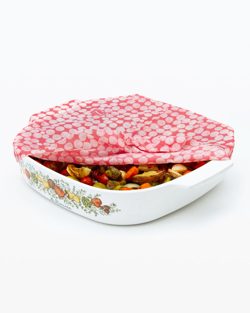 large red and white zwraps shown on baking dish