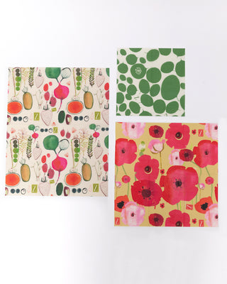 set of 3 food wraps each featuring a different design