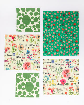 set of 5 multi pattern food wraps