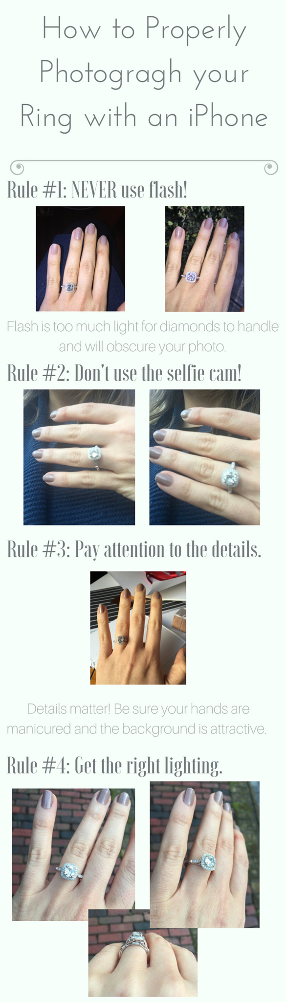 how to photograph your engagement ring using an iphone