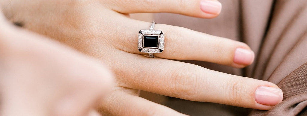 onyx engagement ring