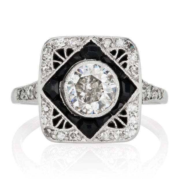 0.90ct old European cut diamond Unique Antique Onyx & Diamond Engagement Ring