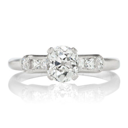 0.93ct old mine cut diamond Engagement Ring With French Cut Side Stones