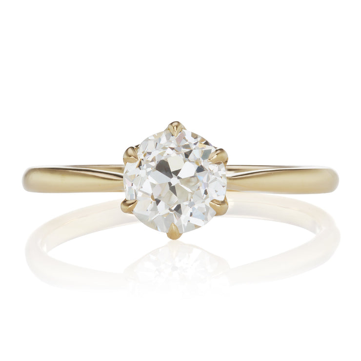 0.98ct old European cut diamond Tapered Yellow Gold Engagement Ring