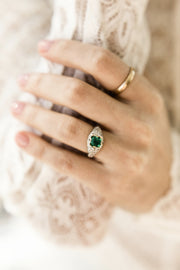 1.00ct Colombian Emerald 1 Carat Emerald Engagement Ring With Diamond Cluster