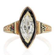 1.04ct Marquise Diamond Marquise Diamond & Black Enamel Halo Engagement Ring